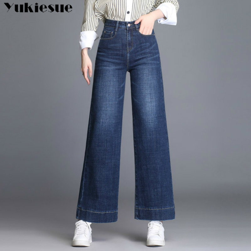2018 Vintage High Waist Flare Jeans For Women Retro Style Bell Bottom Skinny Jeans Woman Female Dark Blue Wide Leg Denim Pants