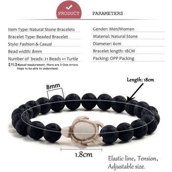 Summer Beach Sea Turtle Beads Bracelet for Men Charm Black Lava Natural Stone Strand Bracelets Elastic Women Boho Jewelry Gifts 5
