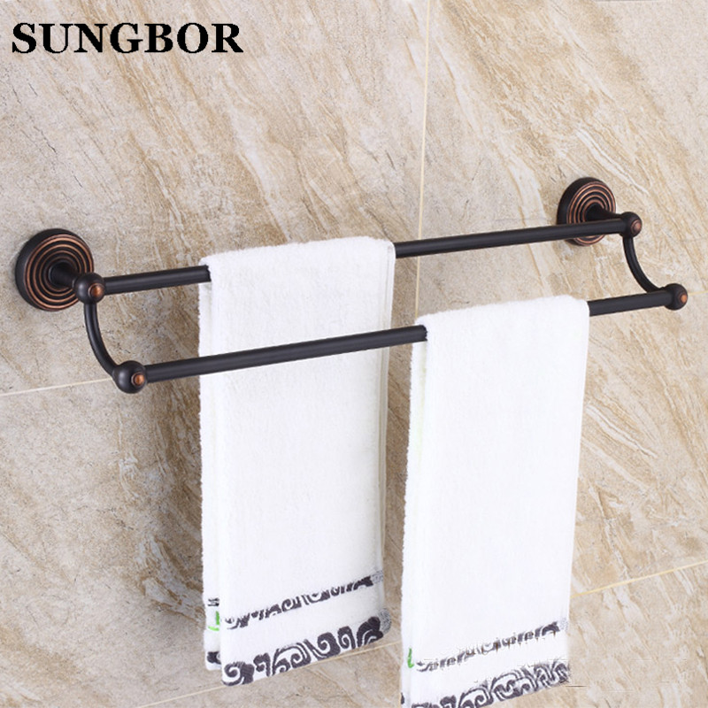 Wall Mounted 24 inch Black Oil Brushed towel rail Antique Brass Double Towel Bar Bathroom Towel Hanger bathroom towel holder aluminum wall mounted square antique brass bath towel rack active bathroom towel holder double towel shelf bathroom accessories