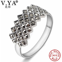 100 Real Pure 925 Sterling Silver Ring For Women Wholesale Free Shipping Marcasite Ring Women Jewelry