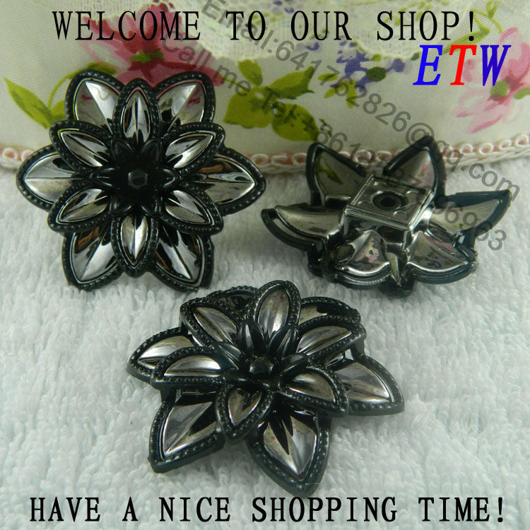 Free shipping 44mm Large Plastic Flower Black Color 50 pcs/lot Fashion Accessory For Hair Shoes Bag Wholesale and retail