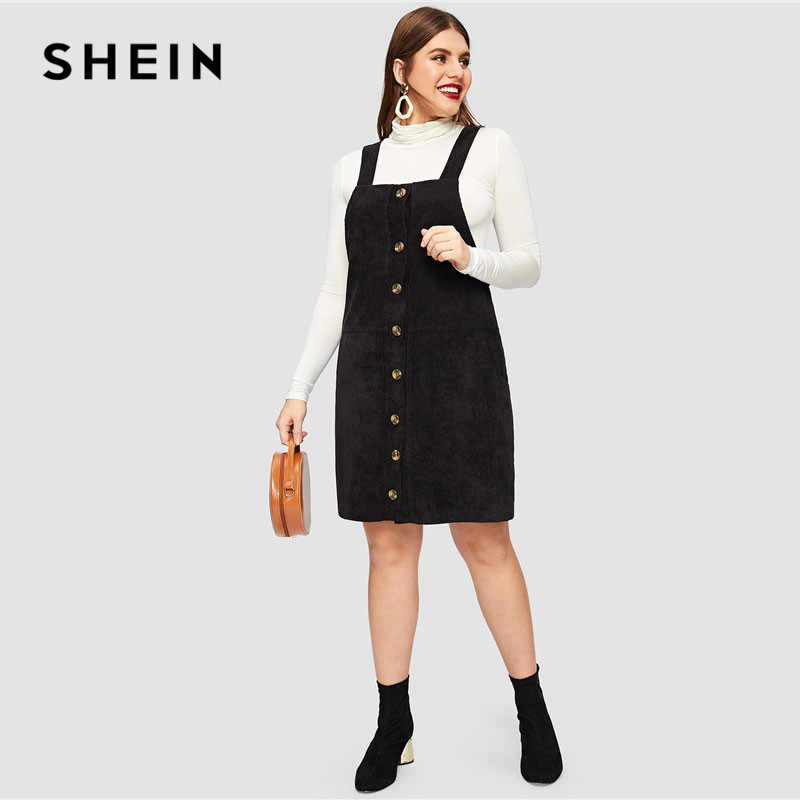 928531ec679 ... SHEIN Black Plus Size Thick Strap Button Up Cord Overall Short Dress  Women Spring Casual Regular ...