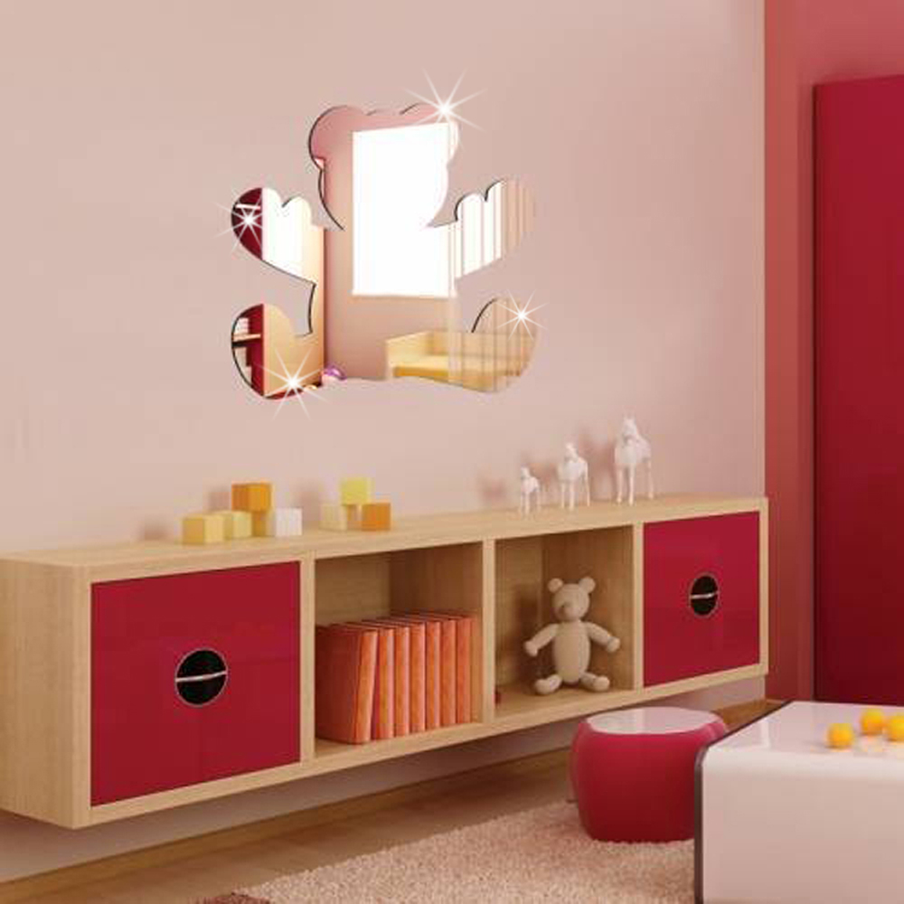 2017 28x28cm 11x11 in lovely cartoon bear acrylic mirror wall sticker bedroom decor for kids - Home decor kids bedroom ...