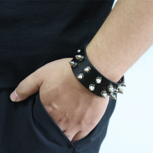 Gothic Delicate Cuspidal Alloy Spikes Rivet Cone Stud Cuff Black Leather bracelets & bangles Punk Bracelet for women men jewelry