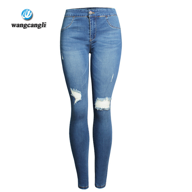 59e2d0e140 Wangcangli verano cintura alta mujeres lavaban vaqueros lavados vaqueros  pantalones pantalones altos pantalones elásticos del lápiz de los pies  rotos alta ...