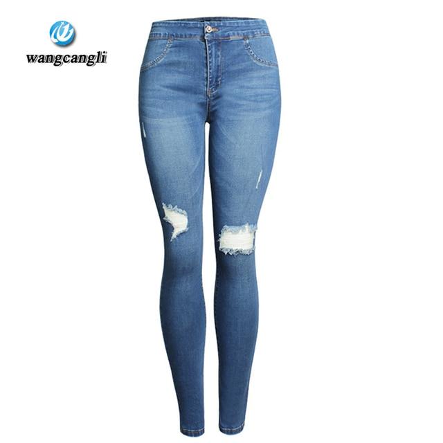 4ee006e7752 Wangcangli verano cintura alta mujeres lavaban vaqueros lavados vaqueros  pantalones pantalones altos pantalones elásticos del lápiz