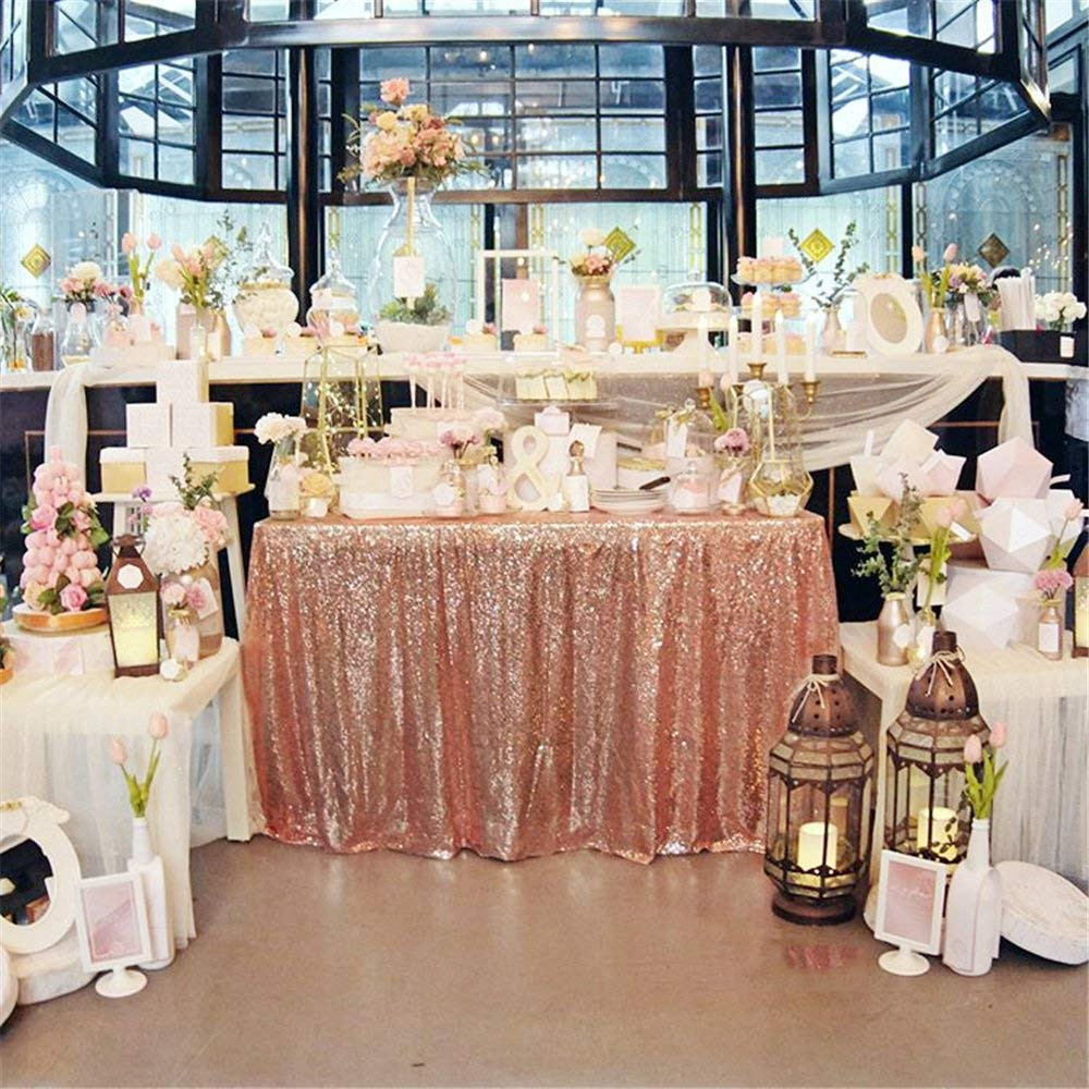 Sequin Tablecloth Wedding Cake Rectangle Square Sequins Table Linen Rose Gold 90x132 In Tablecloths From Home Garden On