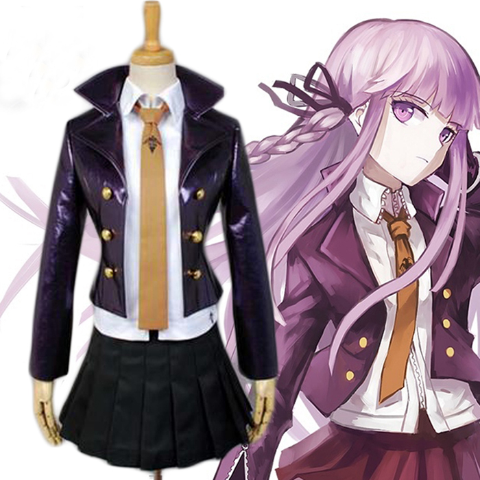 Danganronpa Kirigiri Kyouko Full Set Cosplay Costume Dangan-Ronpa Trigger Happy Havoc Uniform (Jacket+Shirt+Skirt+Tie+Gloves )