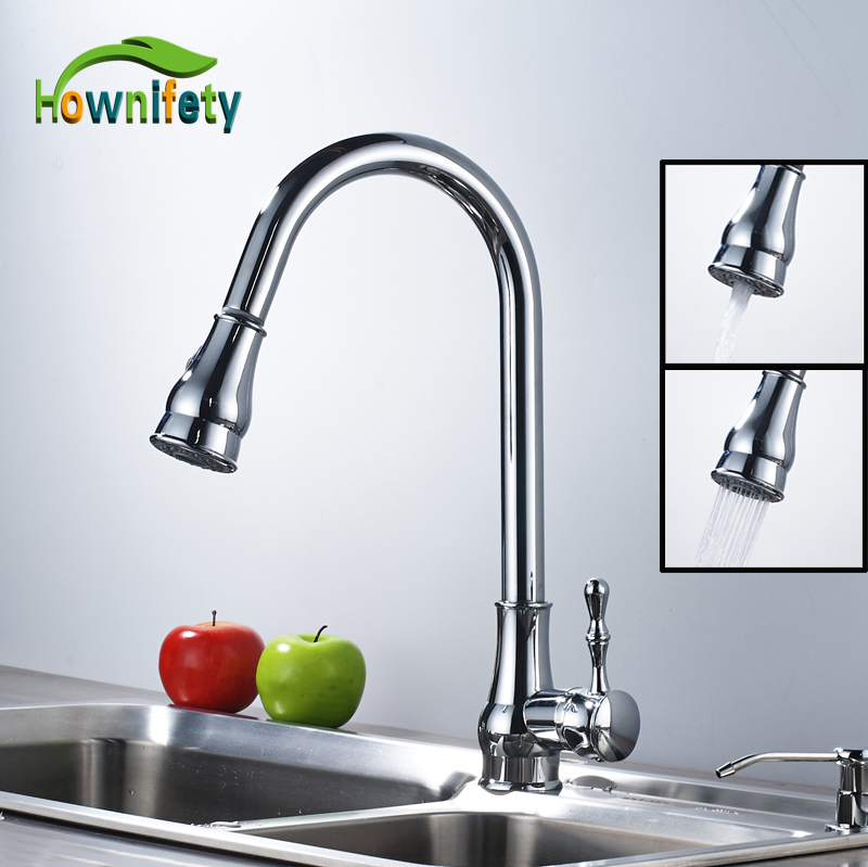 Solid Brass Chrome Polished Pull Out Kitchen Faucet Swivel Spout Hot & Cold Water Countertop Mixer Tap xueqin stylish kitchen water tap swivel pull out spray mixer solid brass chrome faucet easy to install hot sale