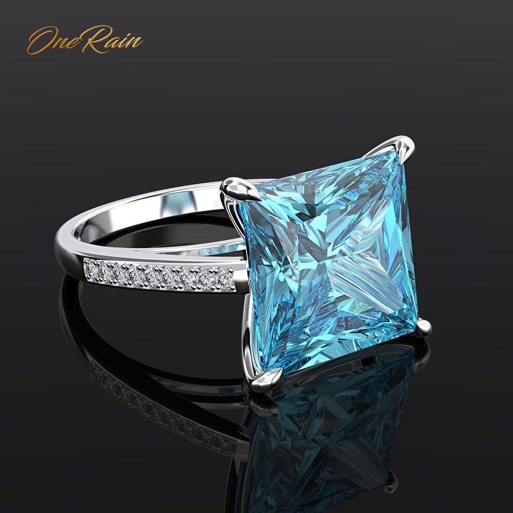 OneRain Classic 100% 925 Sterling Silver Square Aquamarine Gemstone Engagement Wedding Couple Rings Jewelry Wholesale Sz 5-12