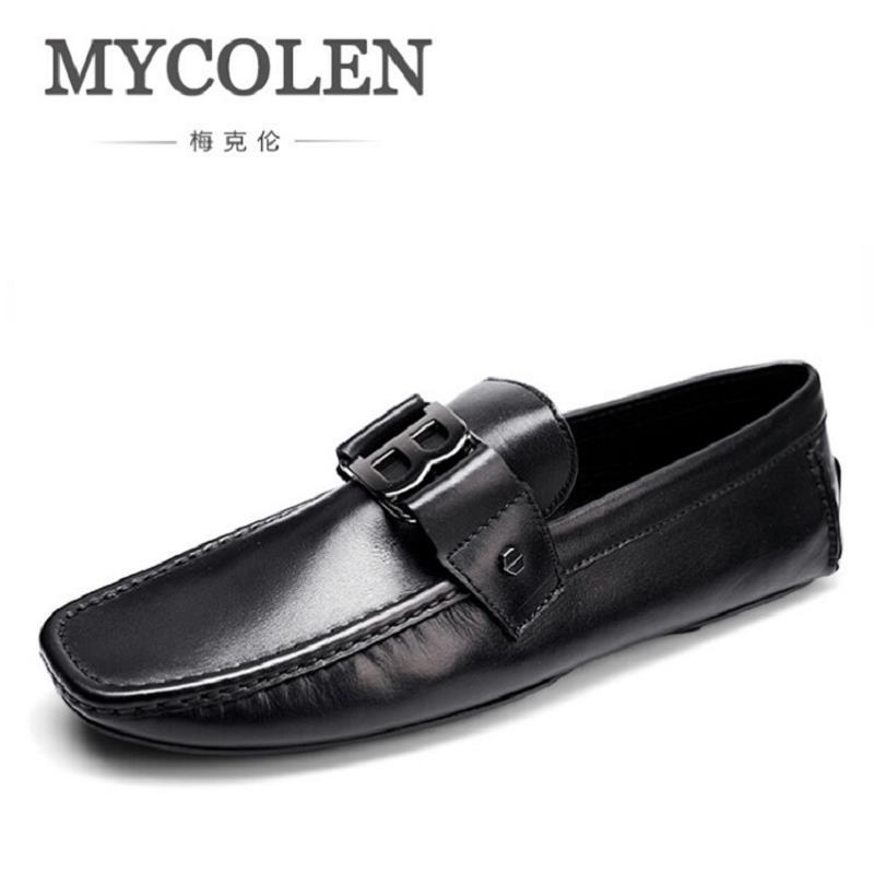 MYCOLEN Mens Genuine Leather Loafers Top Quality Man Casual Driving Shoes Handmade Fashion Slip On Leisure Flats Shoes Zapatos mens casual leather shoes hot sale spring autumn men fashion slip on genuine leather shoes man low top light flats sapatos hot