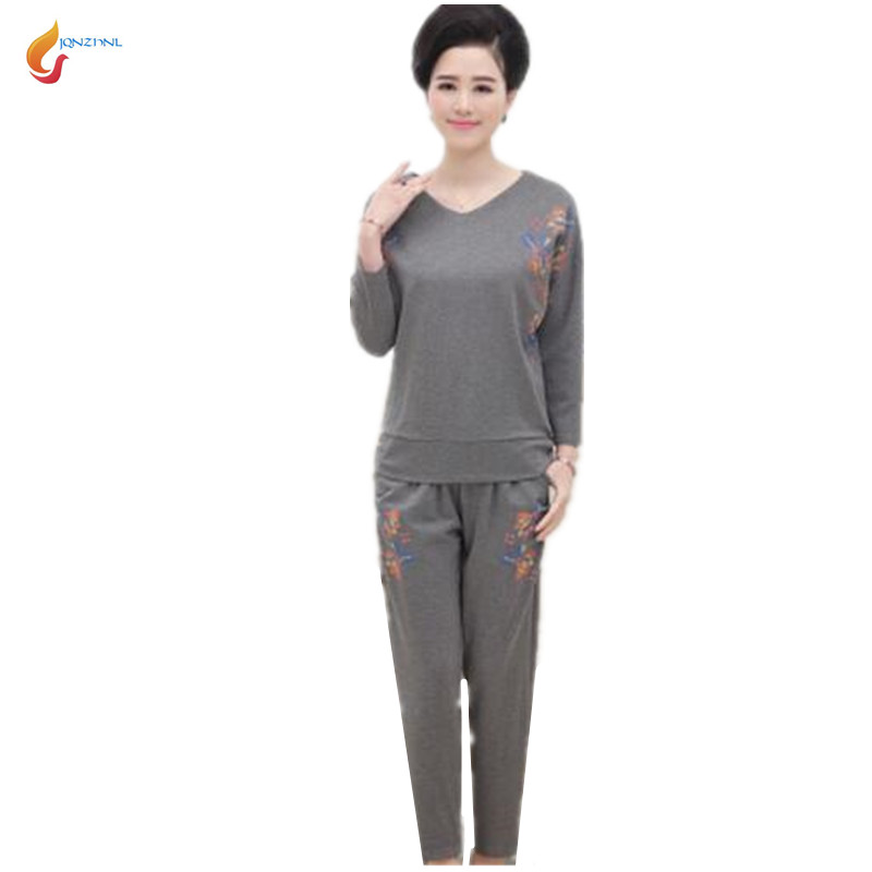 2018 New women spring Middle age large size casual sportswear suit fashion Long sleeves+trousers Twinset Costumes G184 JQNZHNL 4