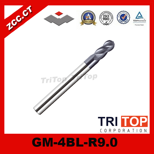 ZCC.CT GM-4BL-R9.0 4-flute ball nose end mills with straight shank / Long cutting edge / end mills cutter zcc ct gm 4bl r7 0 4 flute ball nose end mills with straight shank long cutting edge end mills cutter