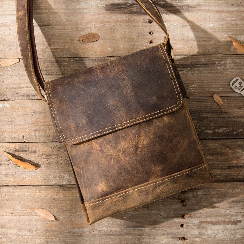 Mens Crazy Horse Leather Shoulder  Vintage Cow Skin Genuine Cowhide Male Casual Flap Retro Messenger Bags