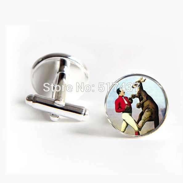 1 pair New Fashion Mens Hot Cufflinks Boxing Kangaroo Cufflinks Victorian Era Art Wedding Cufflinks Groom(China)