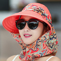 2016 New Women Summer Hats Can Be Folded Sun Hat Visor Outdoor Big Beach Hat Anti Uv Shield Face Casual Cotton Cap Camping