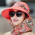 2016 Nuevo de Las Mujeres de Sombreros de Verano Sombrero para el Sol Visera Se Puede Plegar Gran Sombrero de Playa al aire libre Anti Uv Shield Cara Gorro de Algodón Informal Camping