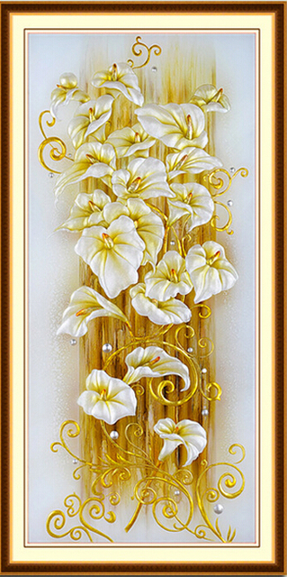 set crafts cross stitch diamonds embroidery diy kit painting flowers lily rhinestones pasted pictures mosaic 5d round cube drill
