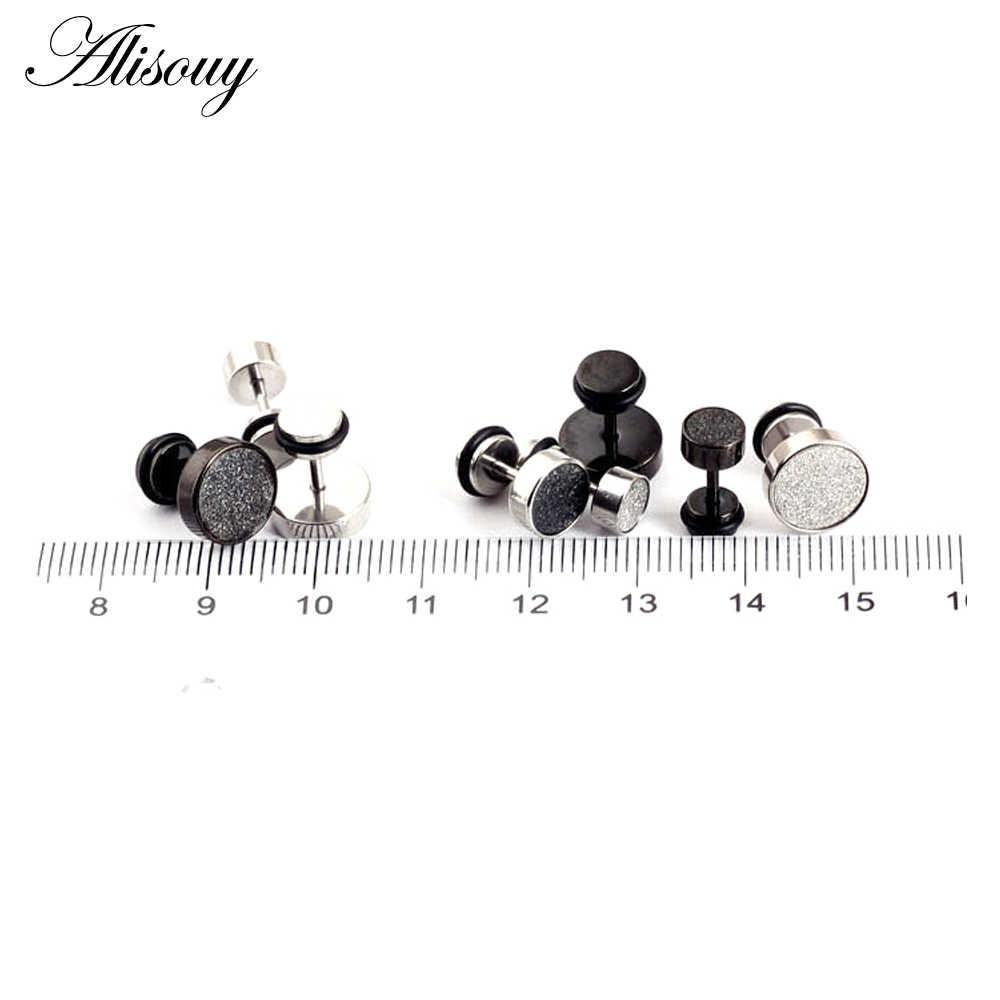 9682b21a0 ... Alisouy Fashion Men's black silver 316L Stainless Steel Ear Studs  Earrings 6/8/10mm ...