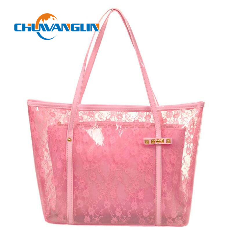 1ca40173df7a Chuwanglin Beach Bag Women Transparent Handbag Jelly Crystal Bag Letter Large  Bag Bucket Summer Waterproof Shouder
