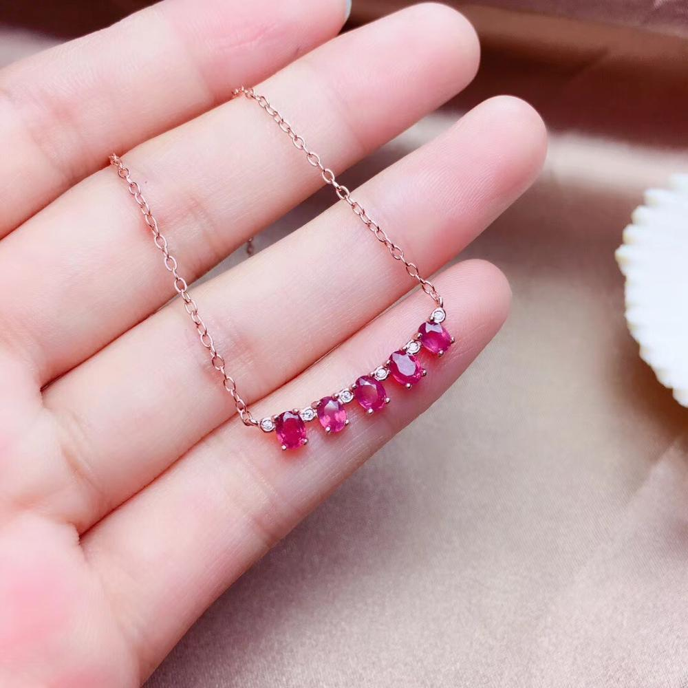 Simple 925 Silver Natural Ruby Necklace Is Highly Recommended For Goddess Necklace