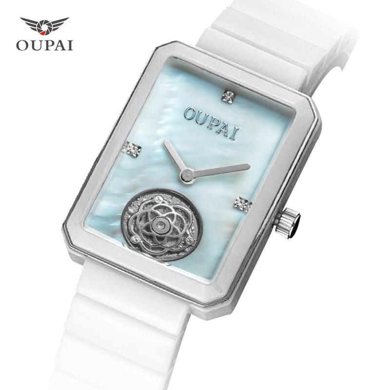 OUPAI Genuine Ceramic Quartz Watch Lady Watches Women Luxury Antique Stylish Square Dress Watch Relogio Feminino Montre Femme