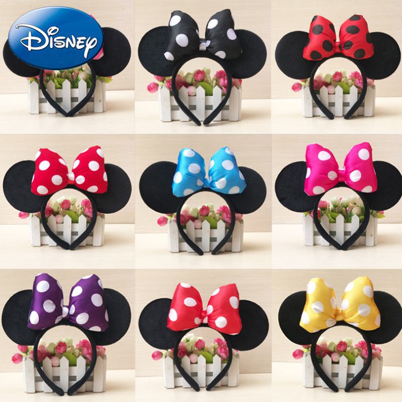 Disney High Quality Mickey Minnie Shiny Hairband Black Mouse Ears Headbands Headdress Women Hair Bows Accessories Birthday Party