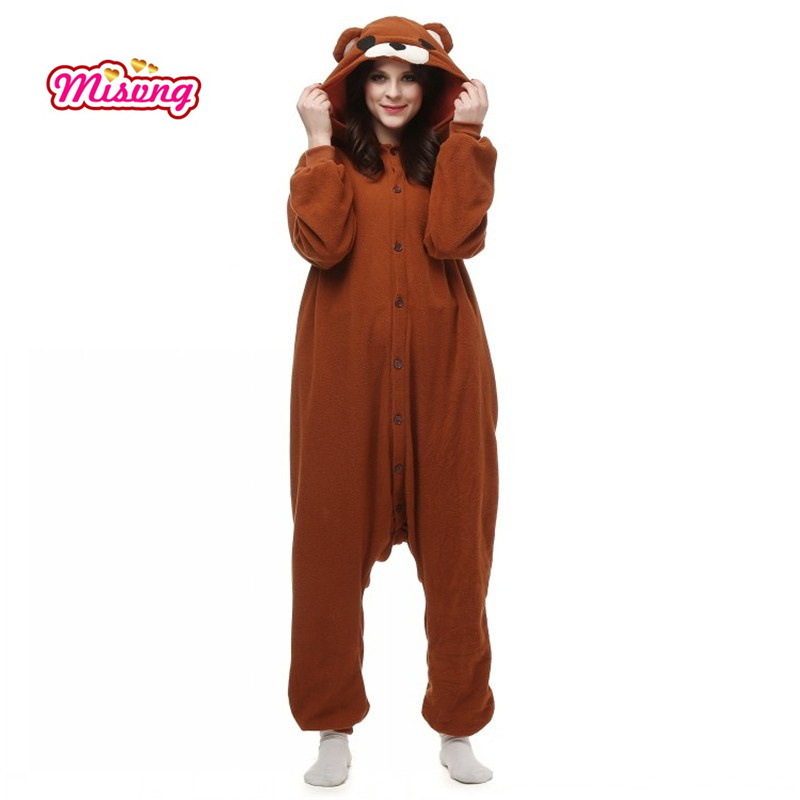 Misvng Pedo Bear pedobear Brown Bear Soft Pajama Anime Cosplay Costume unisex Adult Onesie Romper Party Sleepwear Dres