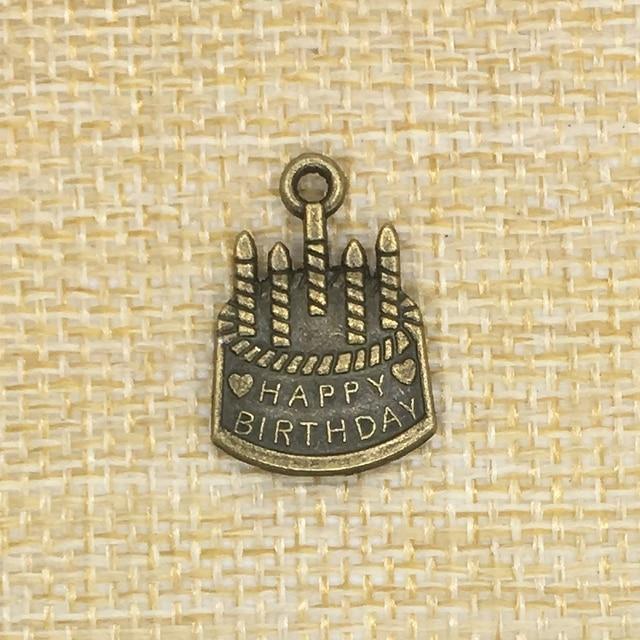 50Pcs 1915mm Cake Charms Happy Birthday Antique Bronze Jewelry