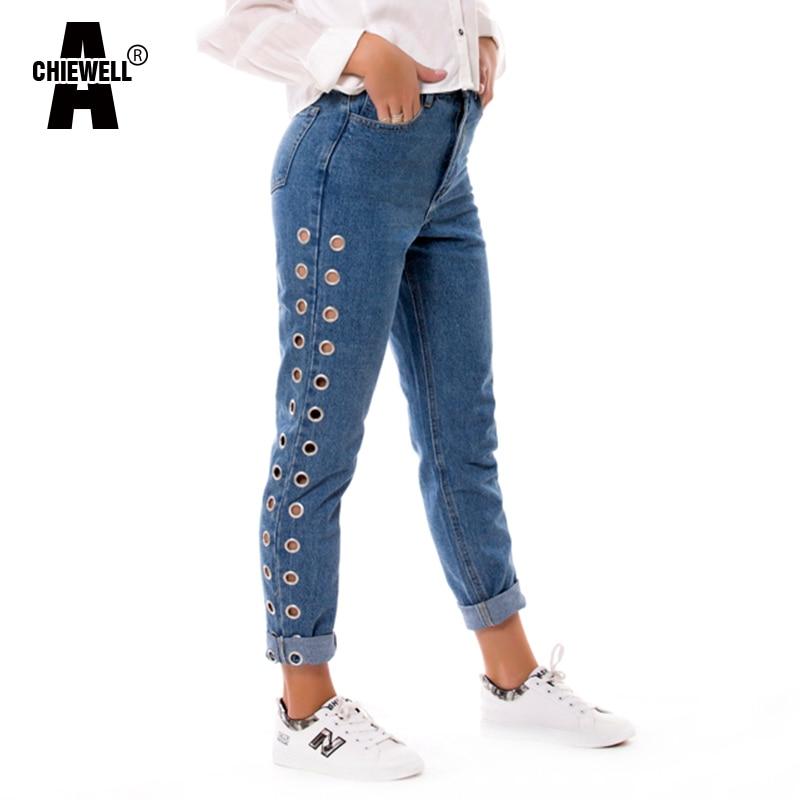 Oeillet Achiewell Pantalon Jeans Vintage Côté Garçon Maman Femmes Taille Haute Ami Denim Printemps Casual Bleu Lâche xRqwrZYR