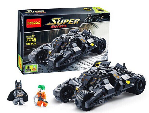 Marvel Super Heroes Batman Chariot Tumbler Building Blocks Decool 7105 Joker Bricks toys Compatible with heroes