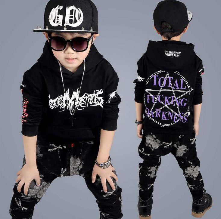 Fashion Spring Autumn Boys clothes 2pcs long sleeve shirt + Haren pants hip hop sport suit Boys Clothing Sets For 4 6 8 12 Years