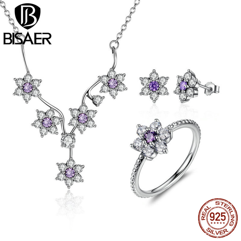 BISAER 100% 925 Sterling Silver Forget Me Not, Purple & Clear CZ Jewelry Sets Wedding Engagement Jewelry Accessories HPS003 цена 2017