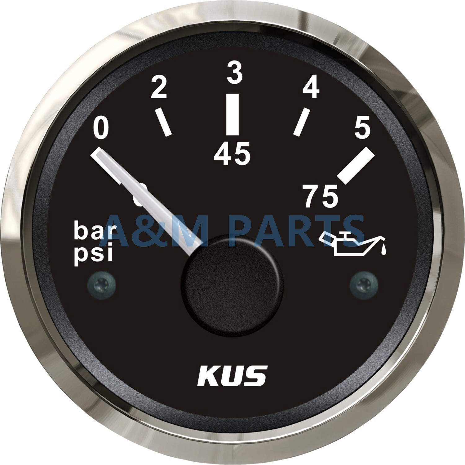 52mm Two Colors LED Waterproof Oil Pressure Gauge for Marine Boat White Face BAR