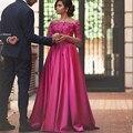 Vestido de festa longo robe de soirée Una línea Fuera Del Hombro apliques Vestido de Noche Largo rosa roja Barato Manga Larga Vestidos de Baile