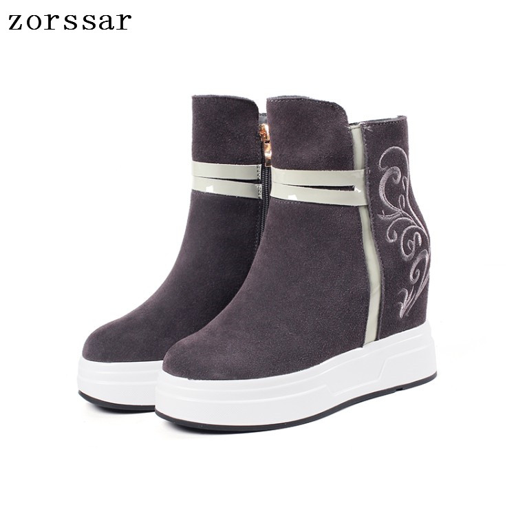{Zorssar} High Quality Cow Suede Leather Female Booties Women Ankle Boots High heels Platform Womens Shoes Winter Fur Snow Boots zorssar 2017 new winter female shoes suede platform height increasing ankle snow boots fashion buckle high heels women boots
