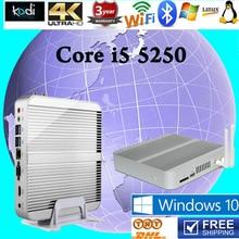 Fanles Mini PC Core i5 5250U HTPC Gigabit Wi-Fi Опционально Windows10 пк HD Graphics 520 4 К HDMI VGA 4 ГБ RAM Skylake Компьютер TV Box