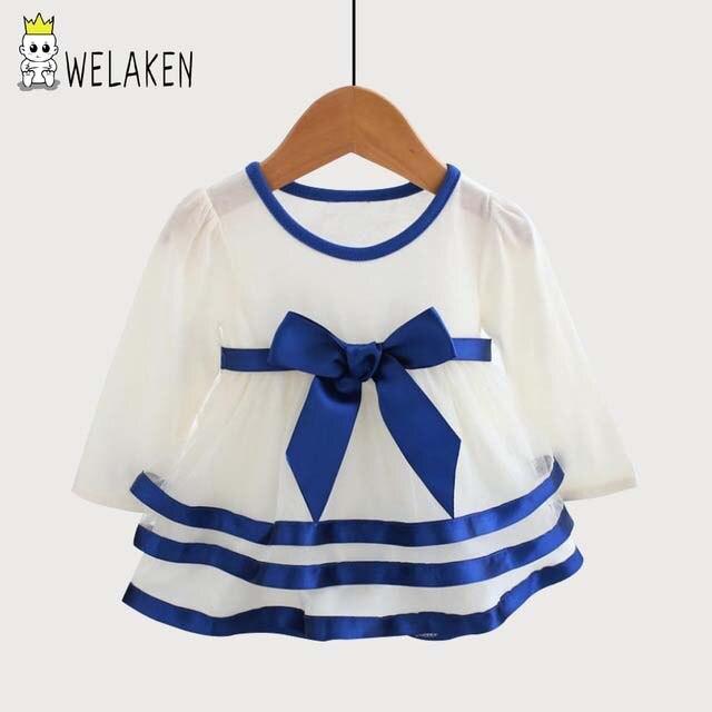 WeLaken 2017 Nouveau-Né Bébé Fille À Volants Dress Princesse Style Grand Arc D'été Filles Dress Mode Infantile Robes de Soirée