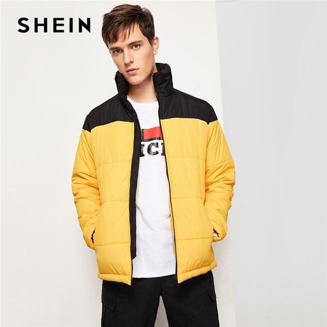 8e15e41ced6b3 SHEIN Men Yellow Highstreet Casual Two Tone Zipper Quilted Long Sleeve  Colorblock Coat 2018 Winter Minimalist