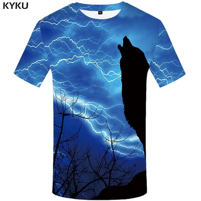 c1f82f18c781 KYKU Brand Wolf T Shirt Lightning T-shirts Blue Tshirt 3d T-shirt Animal T- shirts Men T Shirts Sexy Hip Hop 2017 Mens Clothing
