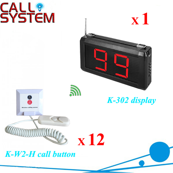 Wireless Health Device Nurse Call Paging System 1 Counter Receiver 12 Patient Button shipping free  hospital nurse call system 1 desktop lcd receiver 5 patient bell paging service shipping free