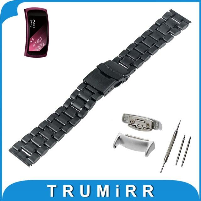 18mm de acero inoxidable reloj band + adaptadores para samsung gear Fit 2 SM-R360 Seguridad Hebilla Correa de Pulsera Pulsera de La Correa Negro plata