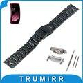 18mm faixa de relógio de aço inoxidável + adaptadores para samsung gear Fit 2 SM-R360 Segurança Cinto de Fivela Correia de Pulso Pulseira Preta prata