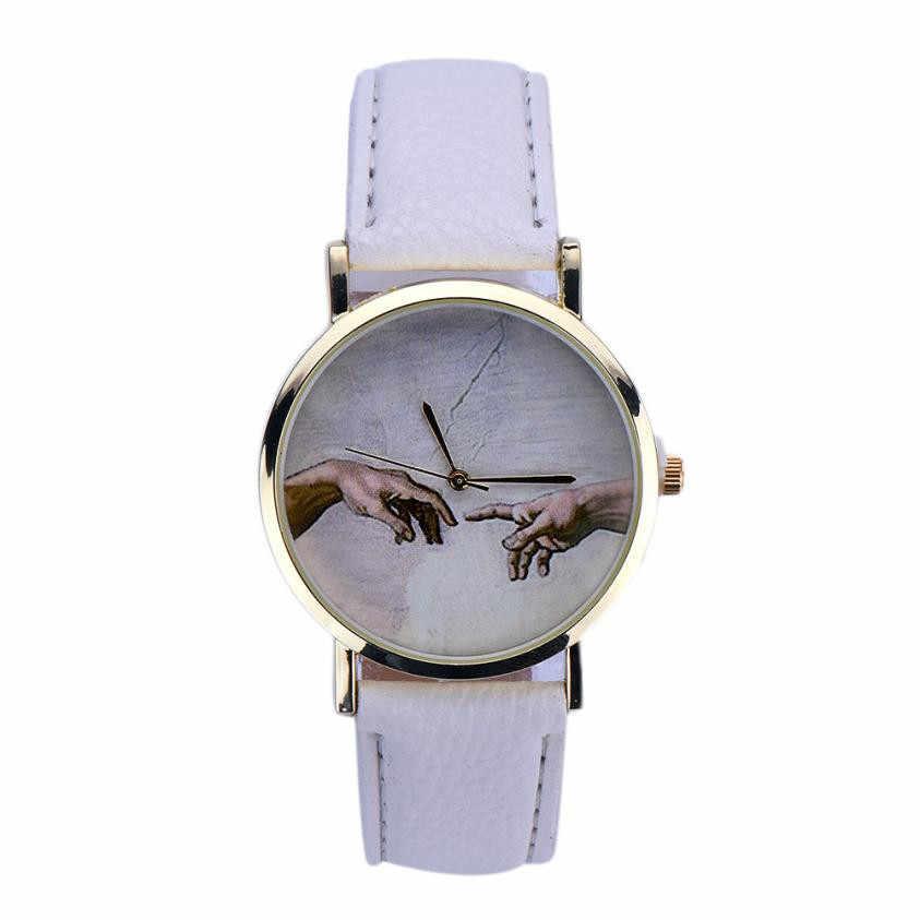 Nueva llegada 2018 relojes mujer moda cuero mujer reloj vintage vestido relojes estampado retro reloj Mujer