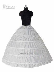 Image 2 - الكرة ثوب 6 طارة تنورات تحتية الكامل قماش قطني ل فستان الزفاف اكسسوارات الزفاف شحن مجاني