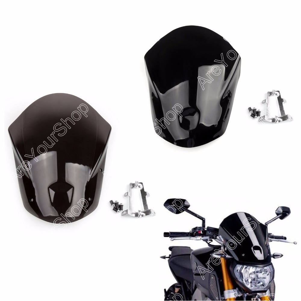 Areyourshop Windshield WindScreen + Bolts Bracket For Yamaha MT-09 2014-2015 ABS plastic Motorcycle Accessories