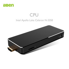 Bben Мини-ПК Окна 10 Intel Apollo Lake Celeron N3350 3 ГБ Оперативная память 64 г Встроенная память HD Графика HDMI WIFI BT4.0 Придерживайтесь ПК мини-компьютер микро