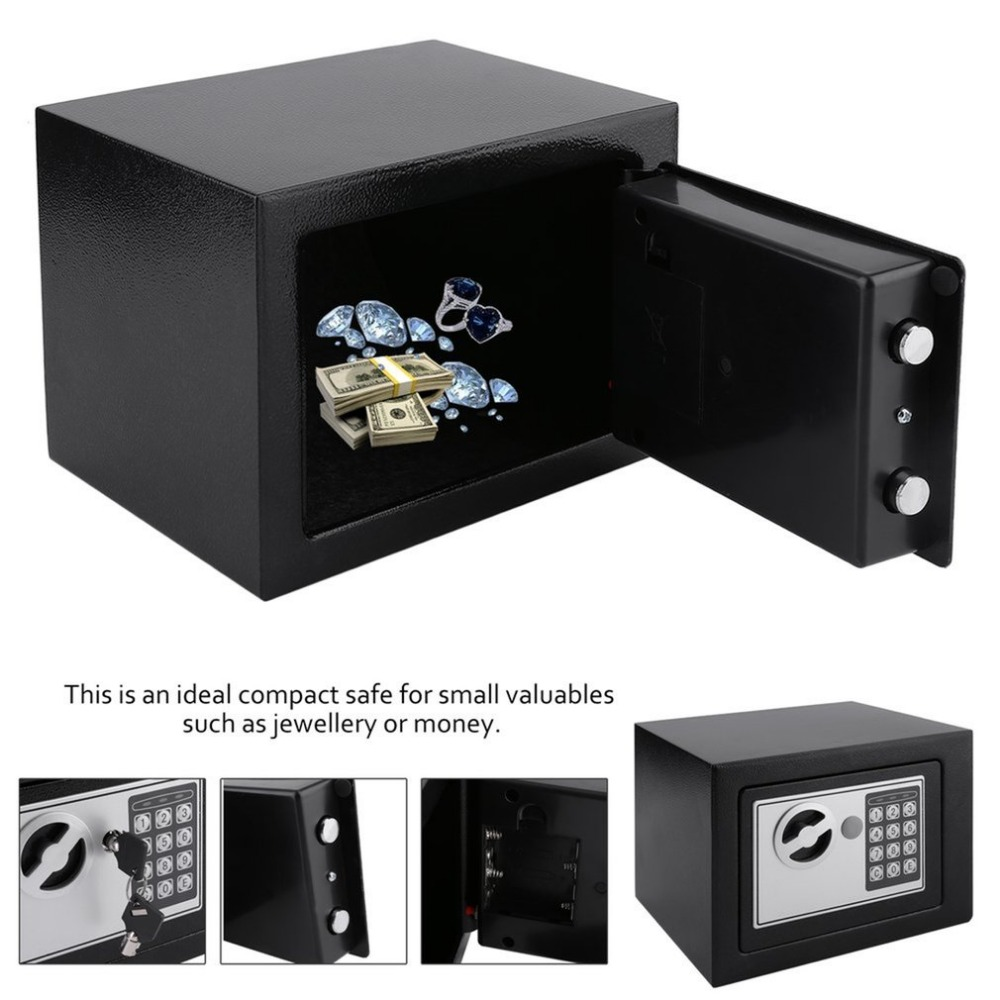 Solid Steel Electronic Safe Box With Digital Keypad Jewelry Storage Case Safe Money Cash Storage Box