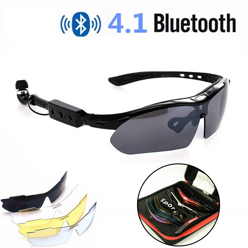 Lunettes de cyclisme sans fil intelligentes Bluetooth 4.1 portable mains libres téléphone vélo UV400 lunettes de soleil polarisées remplacer les lentilles de myopie