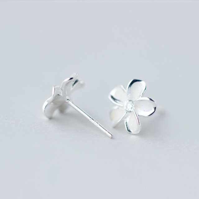 a19edb8fb Authentic 925 Sterling silver Jewelry Hibiscus Plumeria Hawaii Floral Stud  Earrings White Enamel 10MME1082
